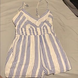 White Romper with blue and gold strips